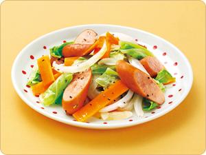ソーセージと野菜炒め風