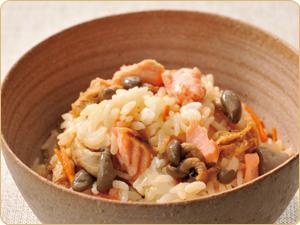 秋鮭ときのこの混ぜご飯