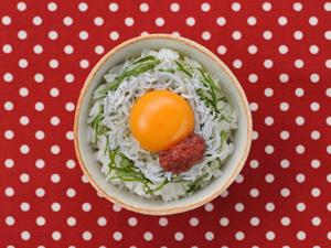 大葉+しらすの卵かけごはん