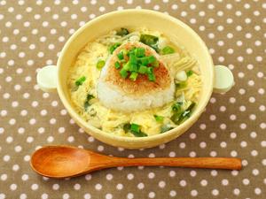 焼きおにぎりの玉子スープ