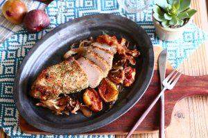 舞茸といちじくと豚肉のオーブン焼き