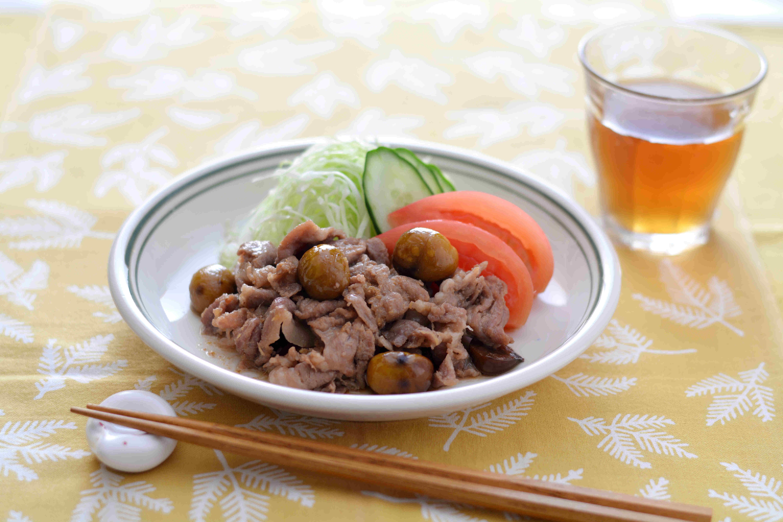 甘栗と豚肉のしょうが炒め
