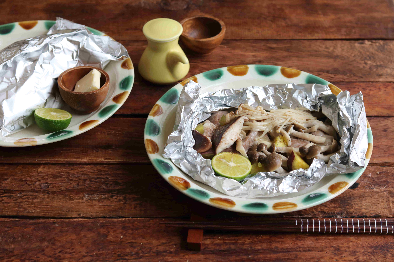 豚肉と秋の味覚のホイル包み焼き