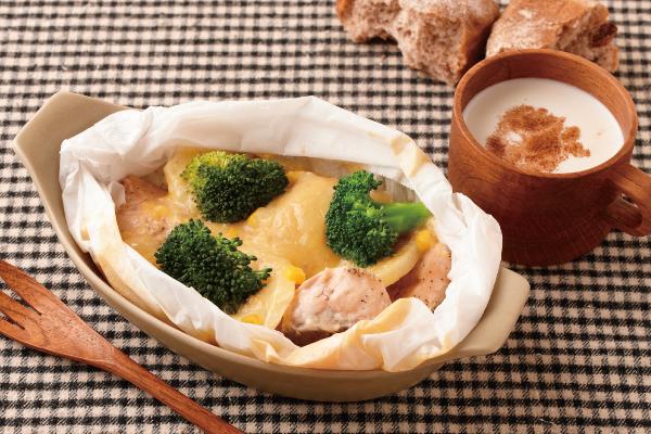 主菜:鮭のコーンクリームグラタン風