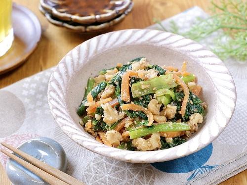 栄養たっぷり簡単副菜♡小松菜とにんじんのくるみ和え